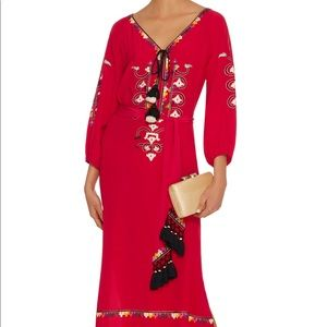 Figue Red embroidered silk dress